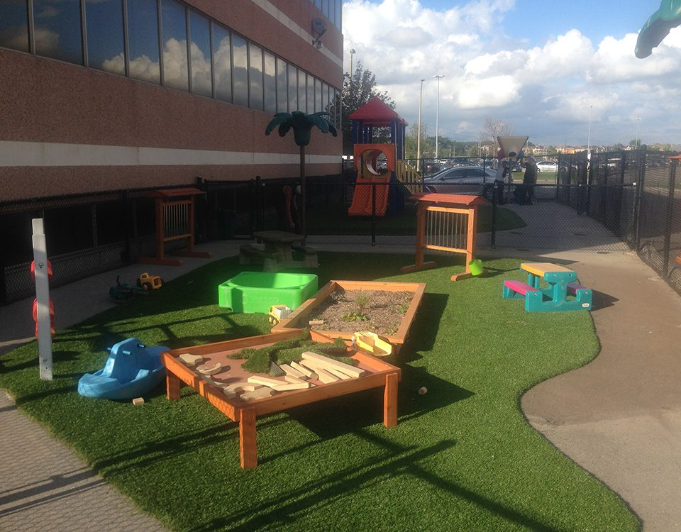 daycare with fake grass surface in pickering
