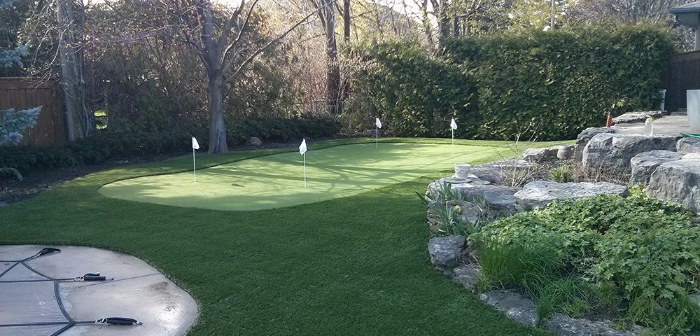 lanscaped artificial putting green in Oakville