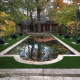 Luxurious artificial grass before jumping in the pool
