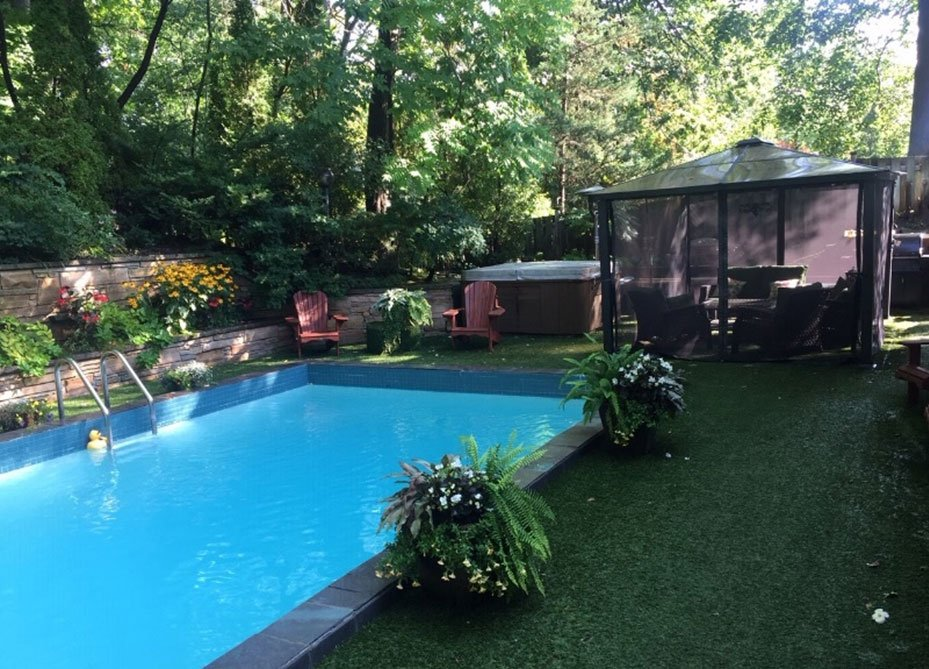 Luxury grass softens around pool and concrete