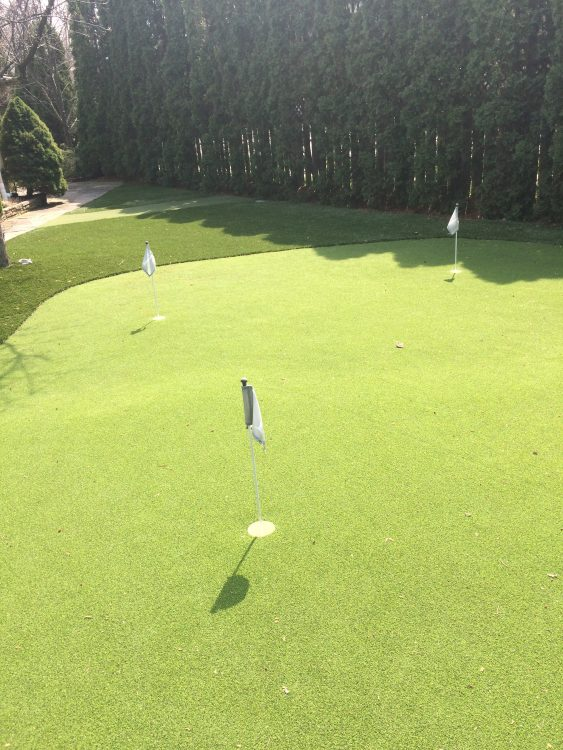 two tiered golf green for extra fun and practice