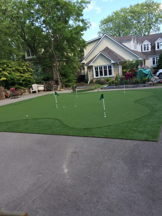 5 Hole Artificial Golf Green installed over a tennis court Oakville