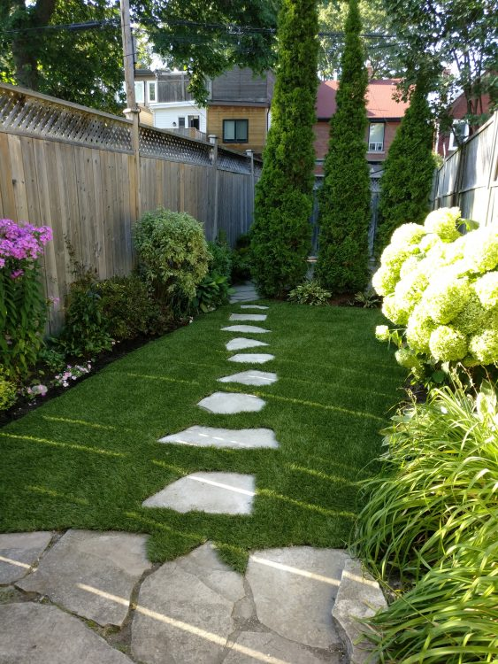 Tricky stone path to mow grass around.