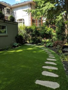 long pathway cut into the artificial grass