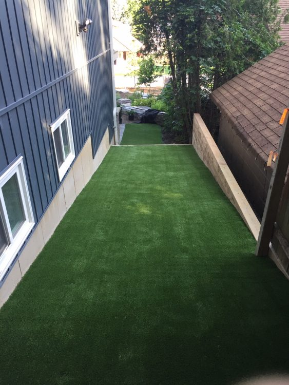 Great way to have a beautiful clean green surface where the grass is hard to grow and maintain