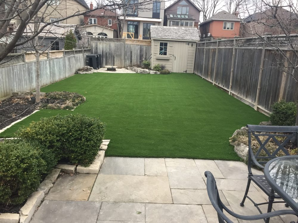 Suburban backyard perfect for artificial grass