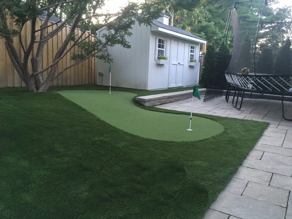 extra fun sloped green for great uphill and downhill putting practice artificial grass golf green, putts perfectly