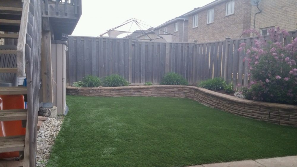 Raised garden beds and synthetic grass