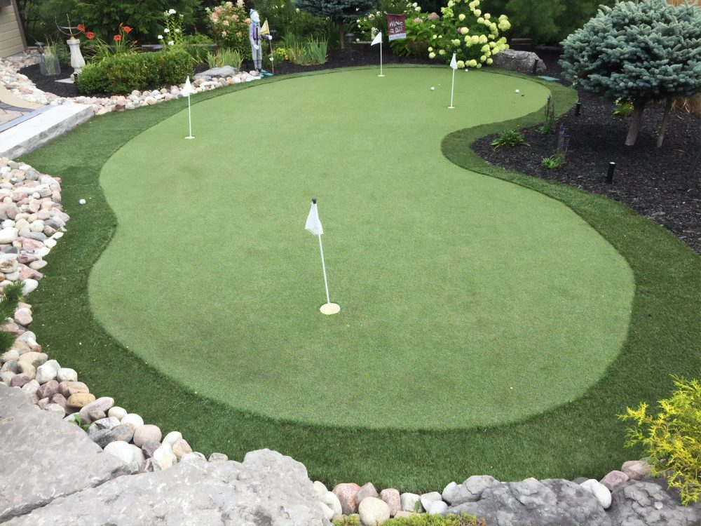 Artificial Golf Greens Toronto Wonderful curved shaped green provides homeowners with truly addition to overall landscaping