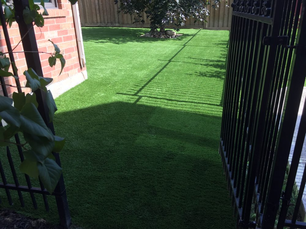 Nice entrance using artificial grass into the backyard