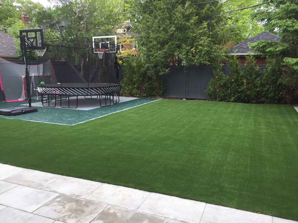 basketball trampoline are no problem with artificial grass