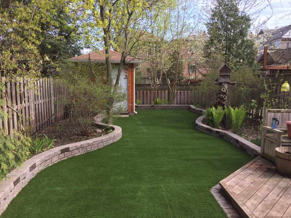 Curves look good but difficult to mow, artificial grass is the answer