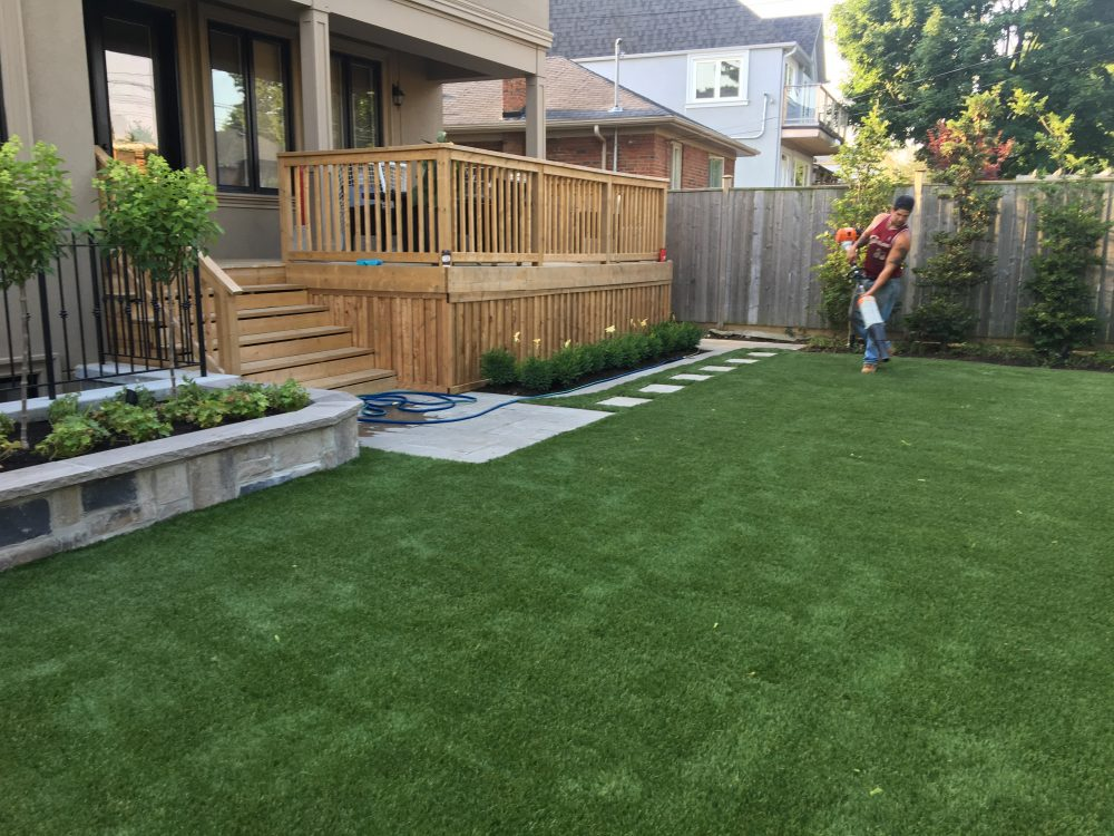 deck walls plantings gardens and artificial grass