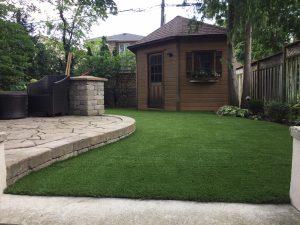 Lovely groomed plush backyard that enhances the cabana and patio