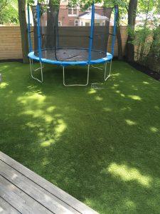 Trampoline on grass