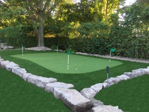 Golf green 4 hole- Armour stone border