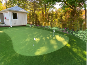 Putting green with gardens and new shed