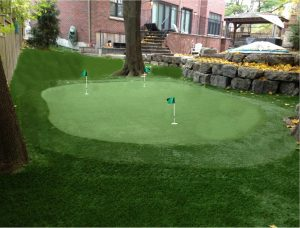 3-hole green with landscape grass surround
