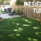 perfect yard for artificial grass against fencing and garden containers